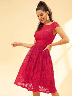 Lace Contrast Embroidered Shell Dress
