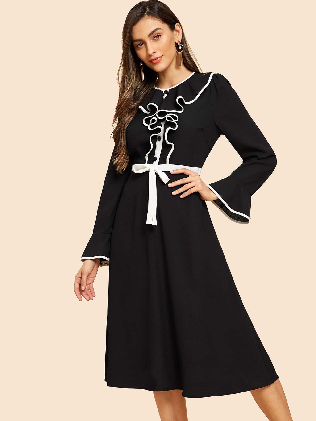 Фото - Рубашку-платье на молнии сзади с оборками от SheIn цвет чёрные
