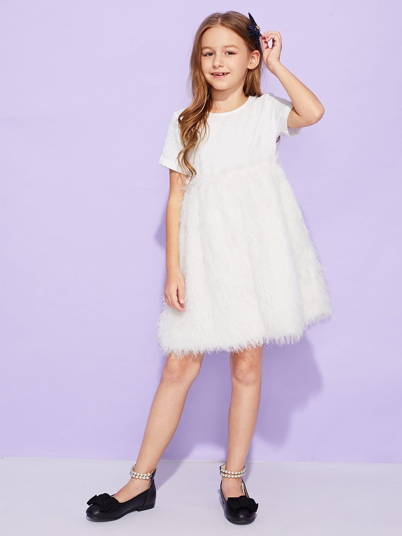 Фото - Для девочек платье из искусственного меха от SheIn цвет белые