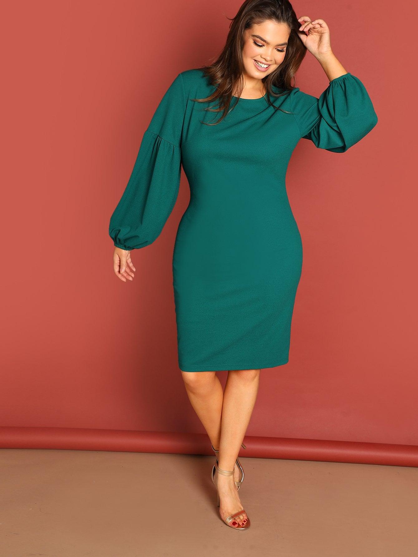 Фото - Плюс размеры платье с фонари рукавом от SheIn цвет зелёные