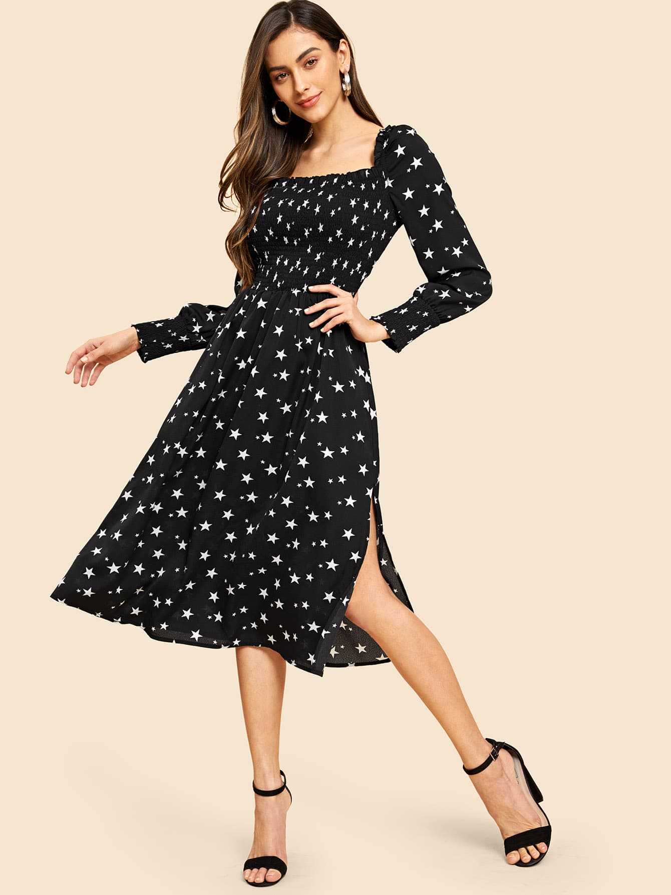 Купить Сетчатое 80 'S платье с квадратным вырезом, Carol A, SheIn