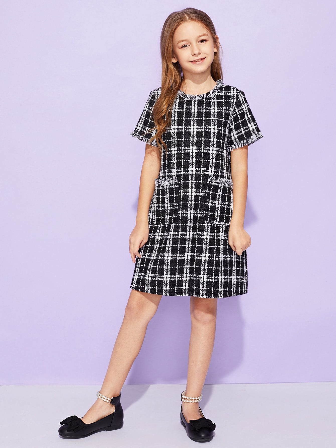 Купить Для девочек твидовое платье в клетку с бахромой, Sashab, SheIn