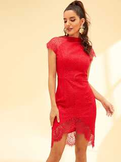 Mock-Neck Eyelash Lace Scallop Dip Hem Dress