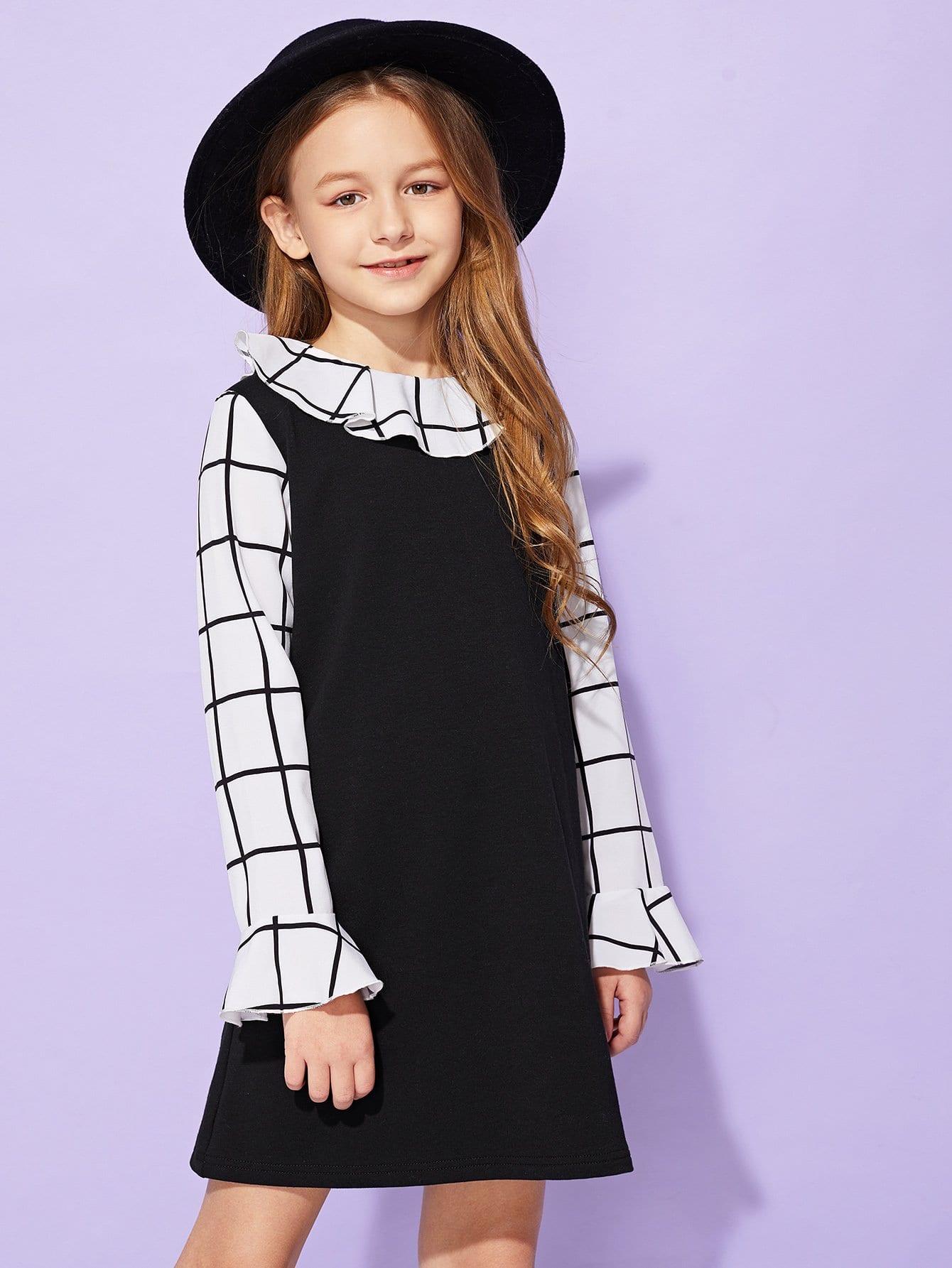 Фото - Для девочек контрастное платье в клетку от SheIn цвет чёрнобелые
