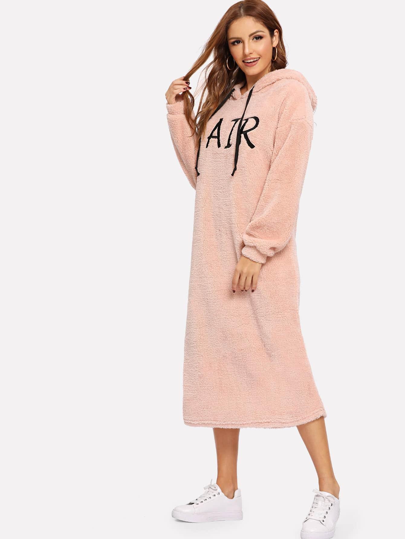 Купить Плюшевое платье с капюшоном с текстовой вышивкой, Lisa A, SheIn