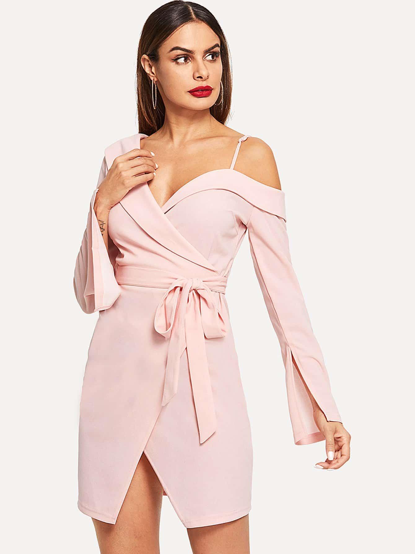 Фото - Платье с асимметричным плечом от SheIn цвет розовые
