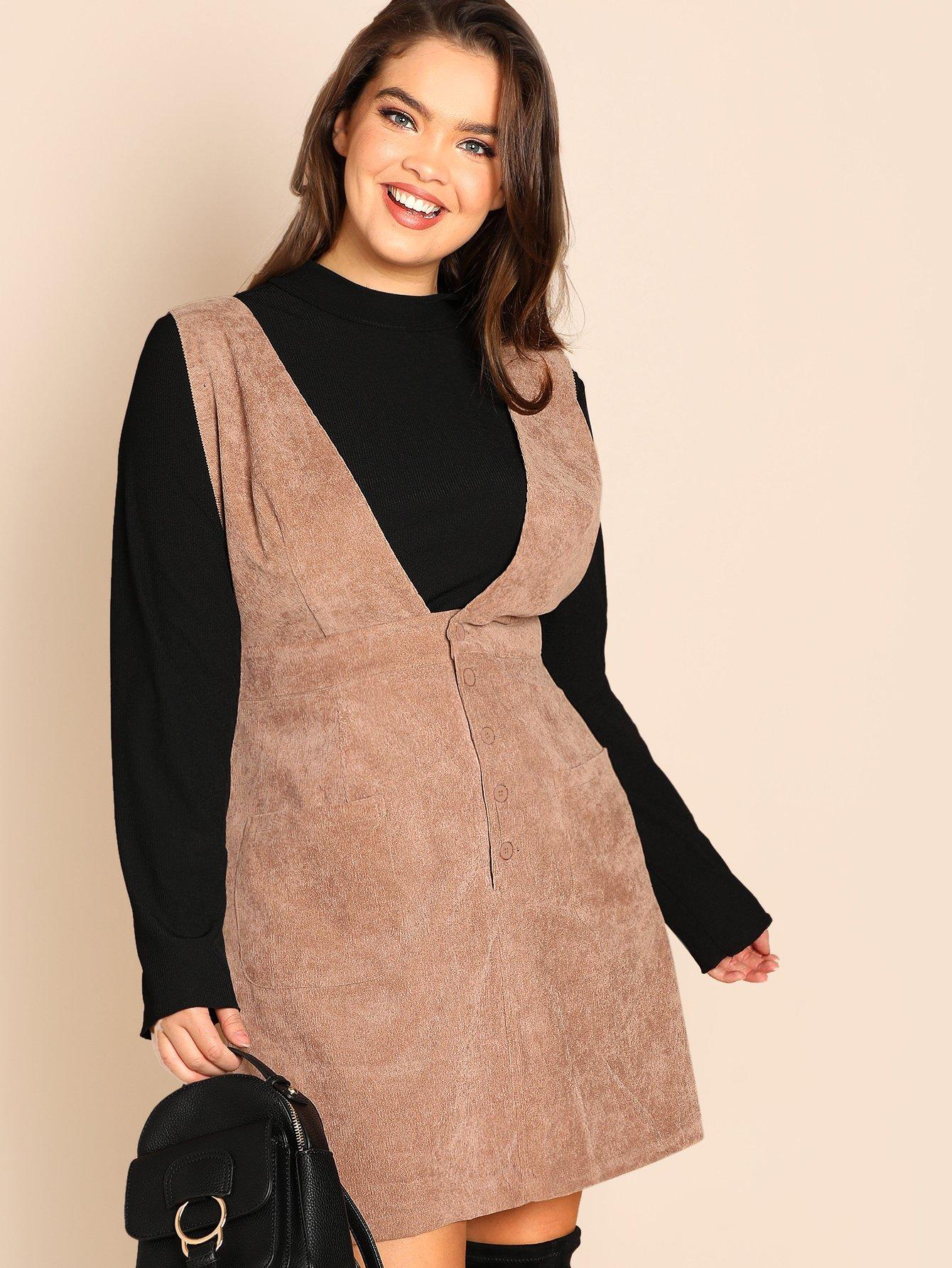Размер плюс вельветовое платье-сарафан с карманом