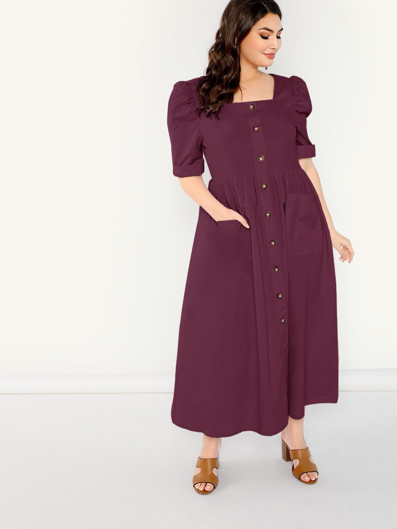 Купить Платье с пуговицами с коротким рукавом размера плюс, Elisa Krug, SheIn