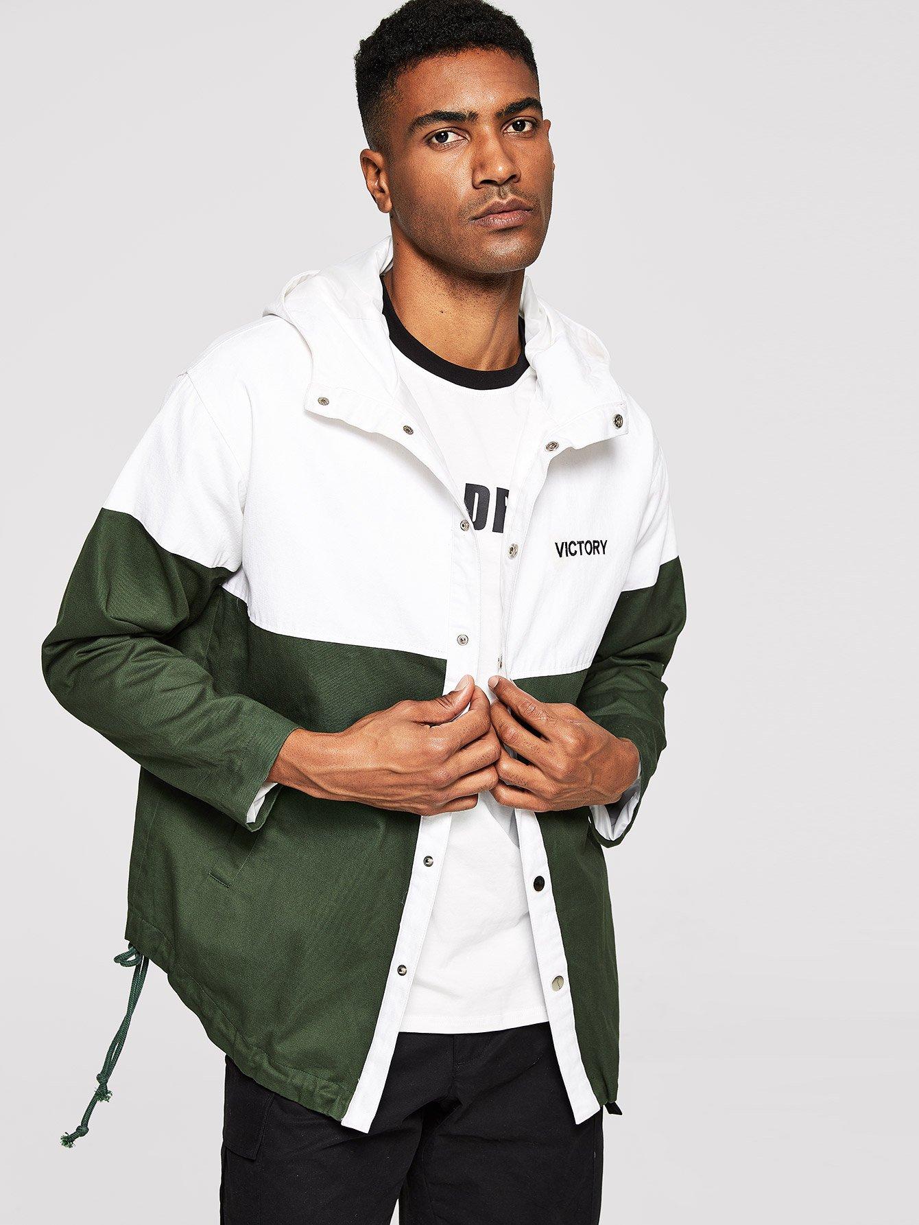 Купить Для мужчин контратсная куртка с капюшоном на пуговицах, Johnn Silva, SheIn