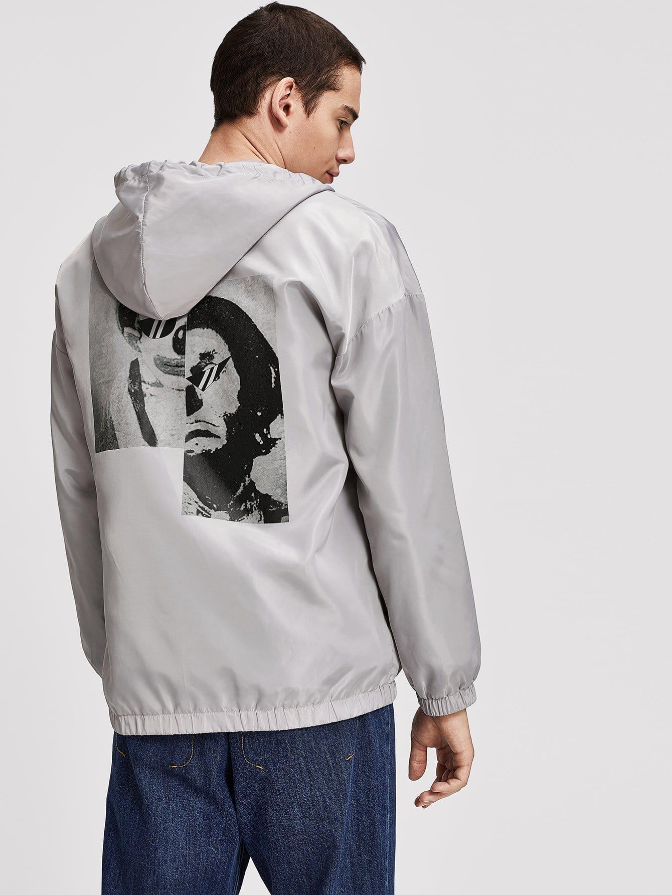 Фото - Для мужчин куртка с капюшоном с кулиской от SheIn серого цвета