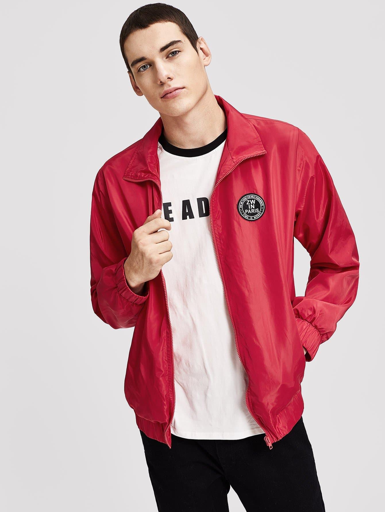 Фото - Для мужчин куртка на молнии от SheIn красного цвета