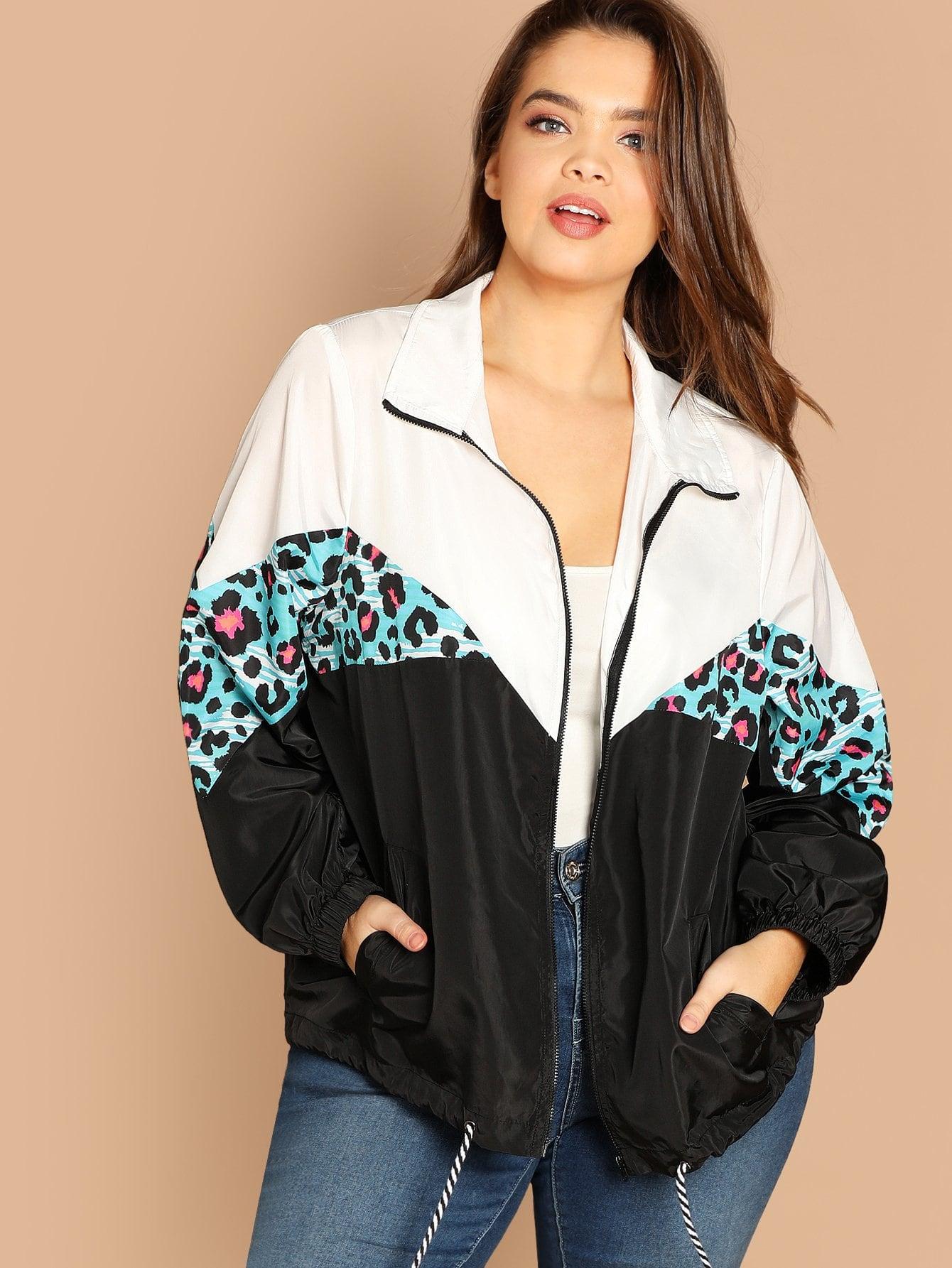 Купить Контрастная куртка с кулиской размера плюс, Faith Bowman, SheIn