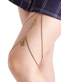 Gold Coin Detail Layered Thigh Chain