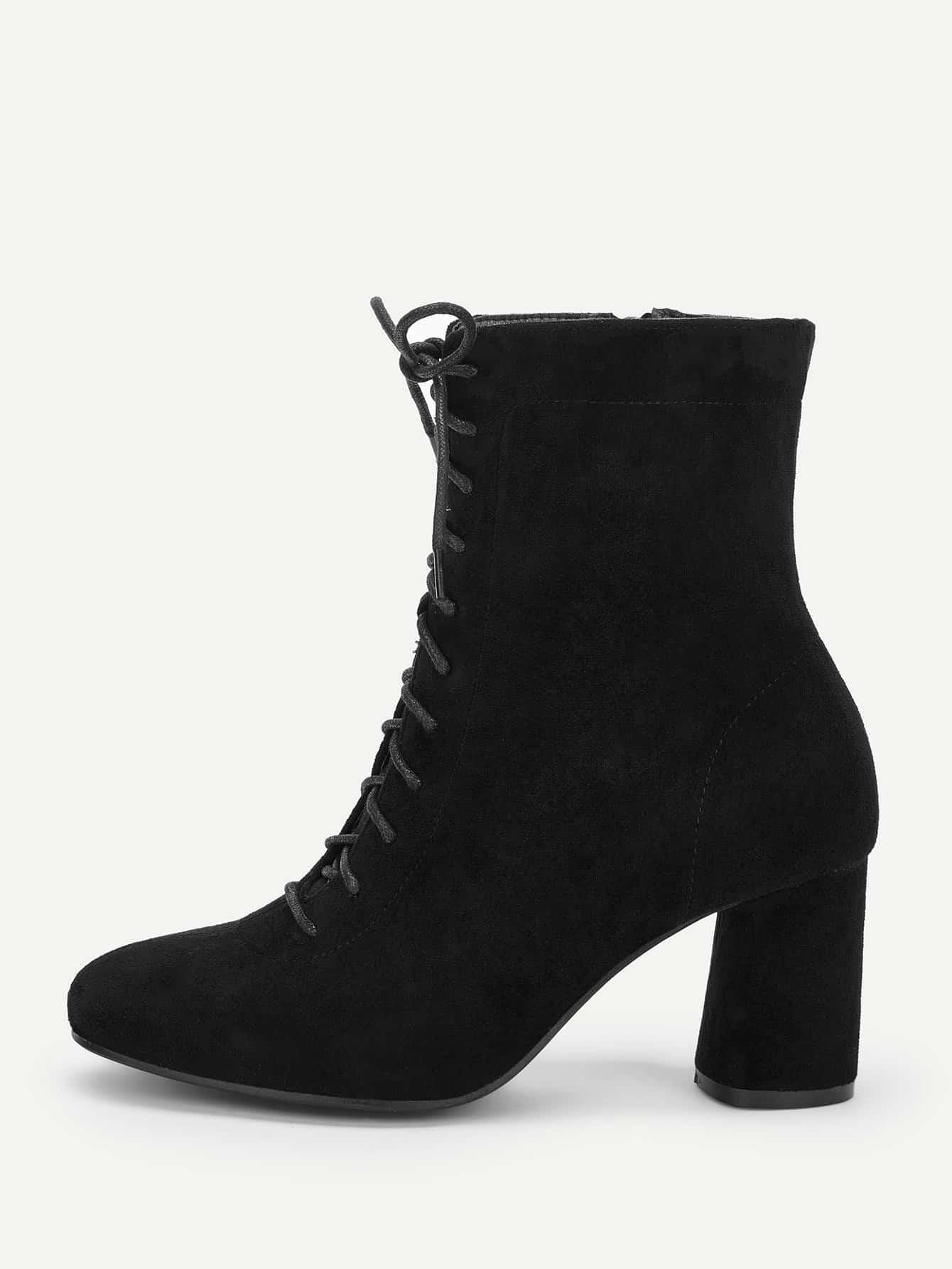 Купить Однотонные сапоги с шнурками и застёжкой молния, null, SheIn