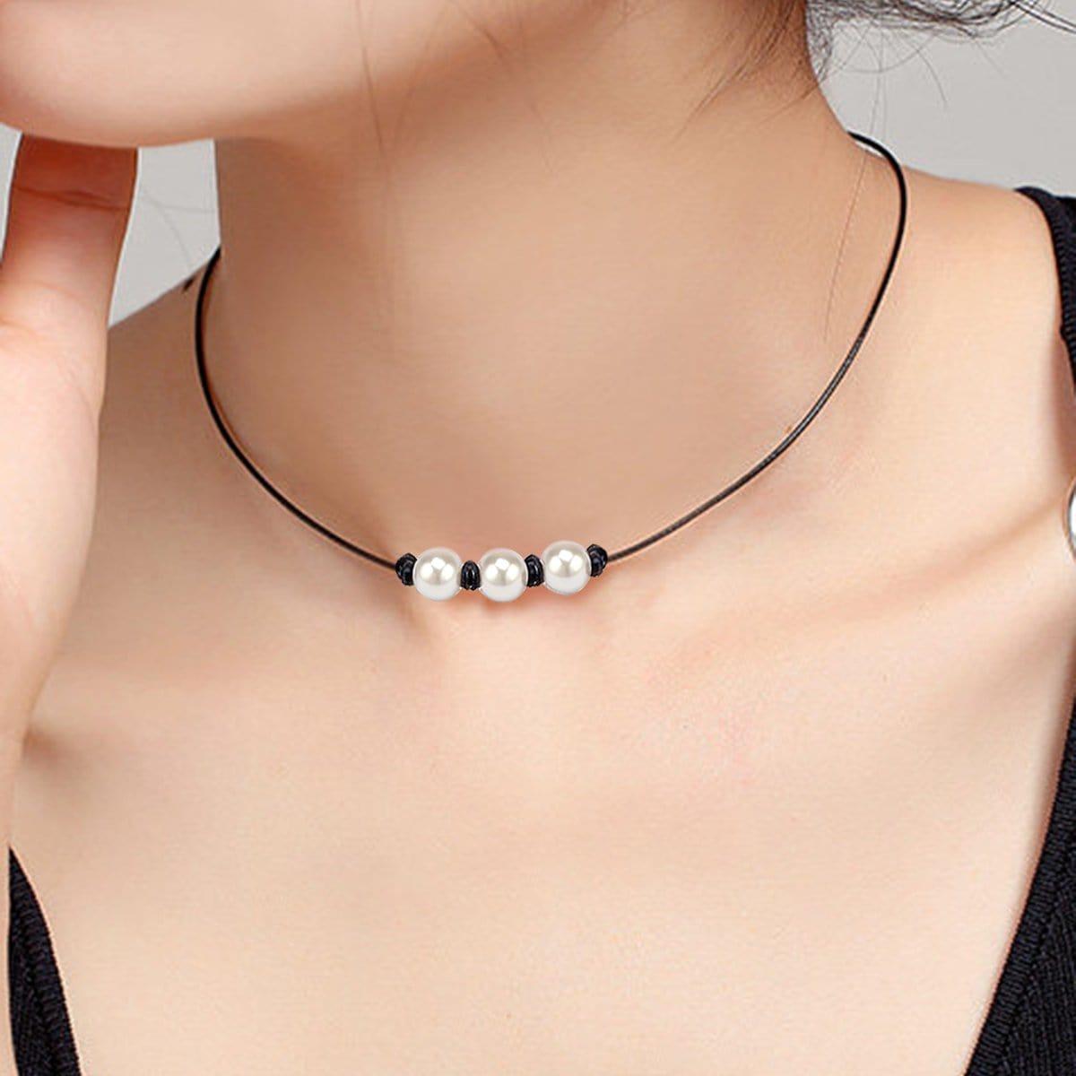 SHEIN / Kunstperlen Anhänger Halskette