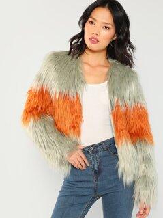 Open Front Faux Fur Coat