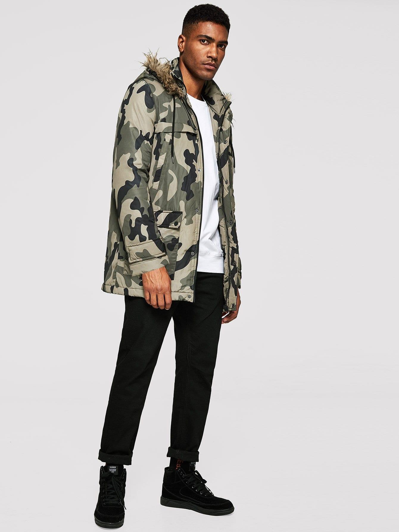 Купить Пальто из искусственных мехов и с застёжкой молния и со симметрическими камуфляжами для мужчины, Johnn Silva, SheIn