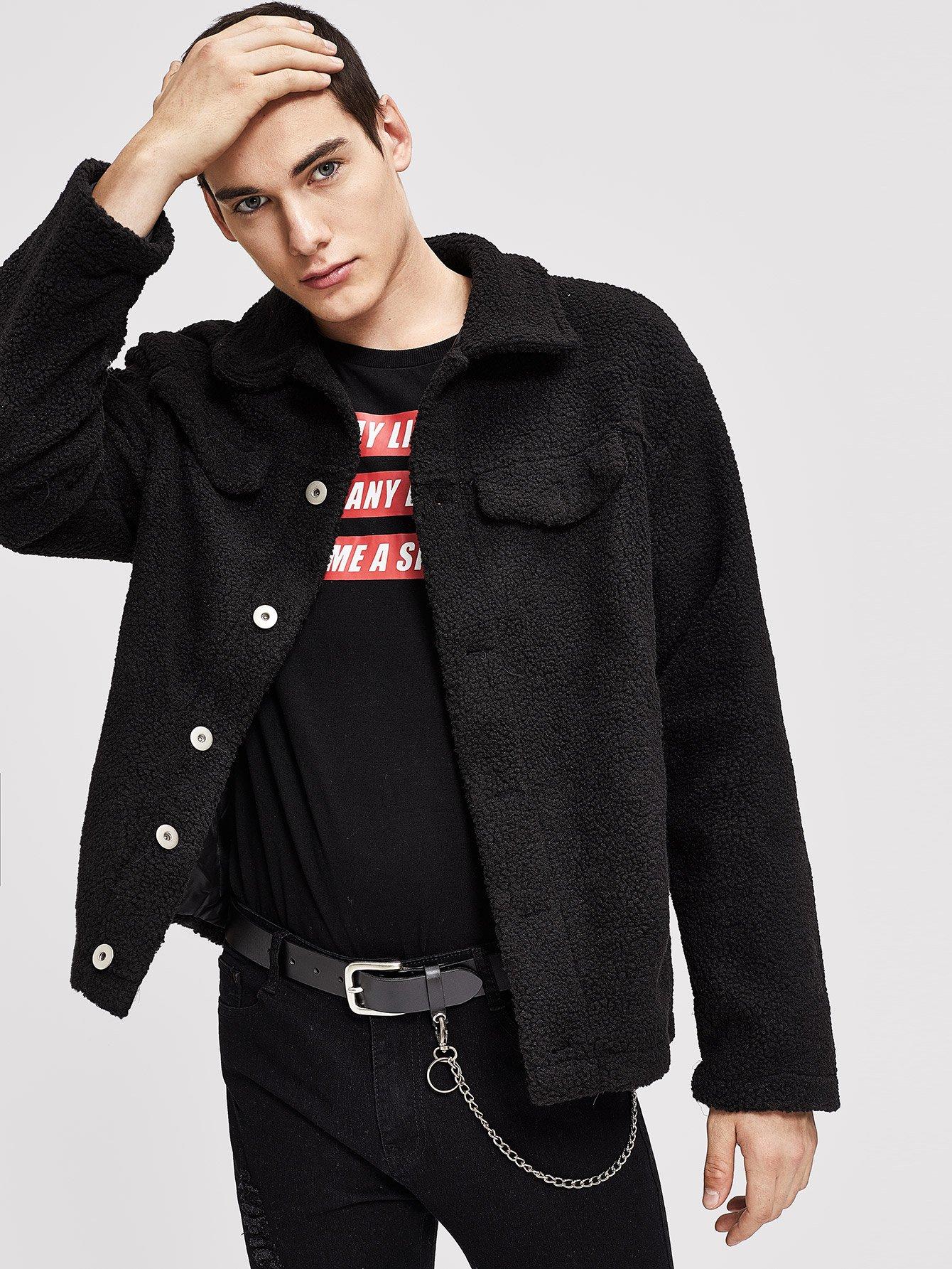 Купить Для мужчин тедди пальто на пуговицах с карманом, Misha, SheIn