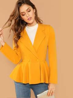 Double Buttoned Notched Collar Peplum Blazer