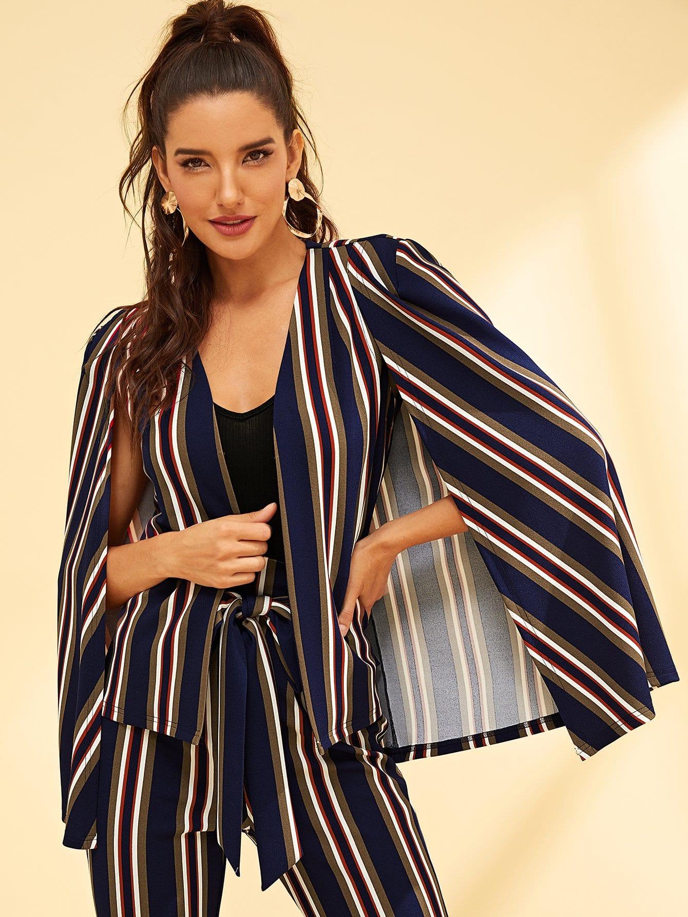 Фото - Пальто в полоску с разрезным рукавом с карманом от SheIn цвет многоцветный