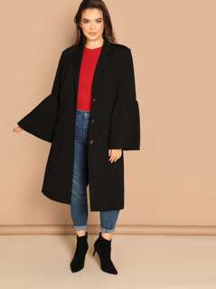 Plus Notch Collar Flounce Sleeve Coat