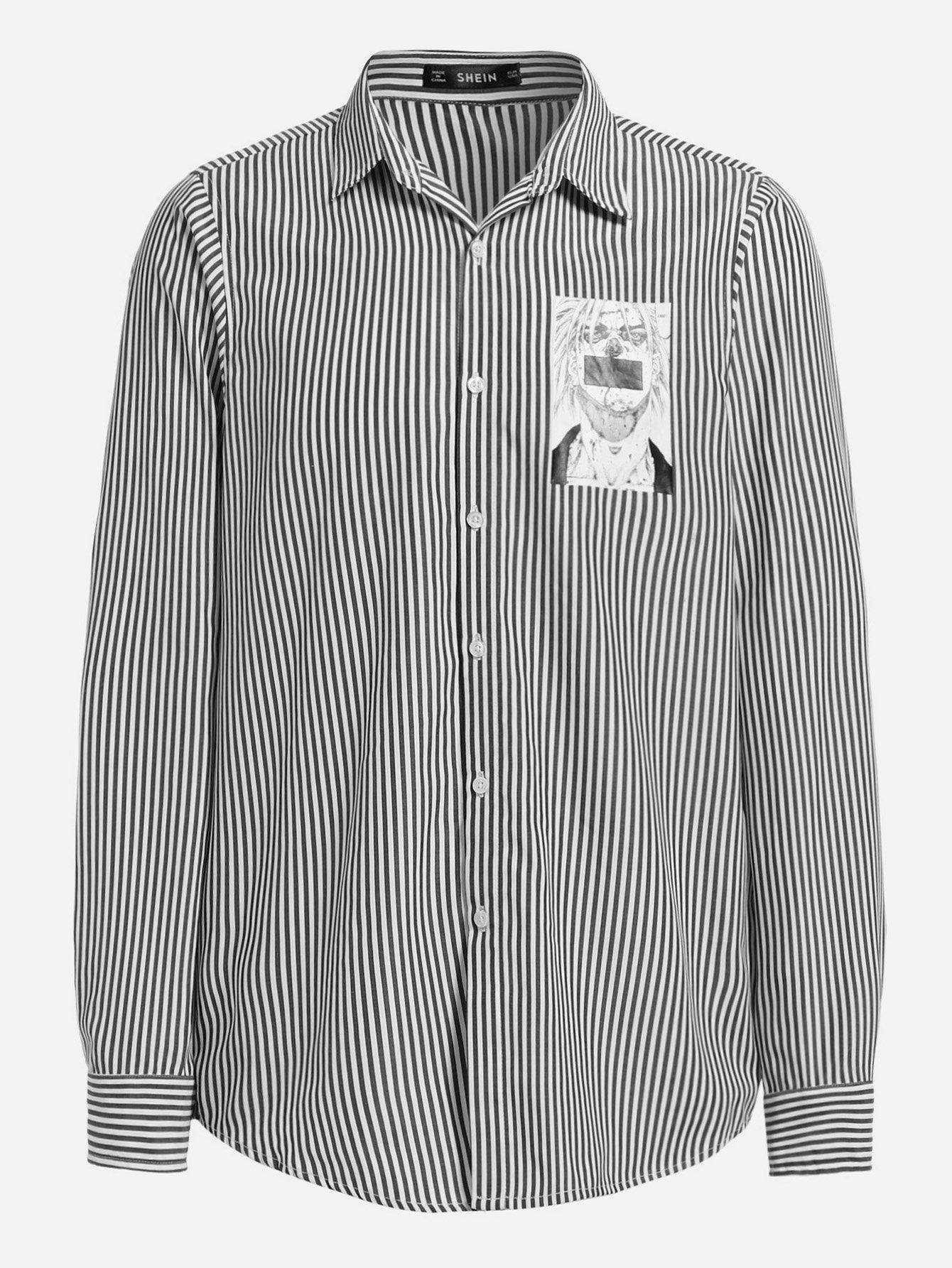 Фото - Мужская рубашка в полоску от SheIn цвет чёрнобелые