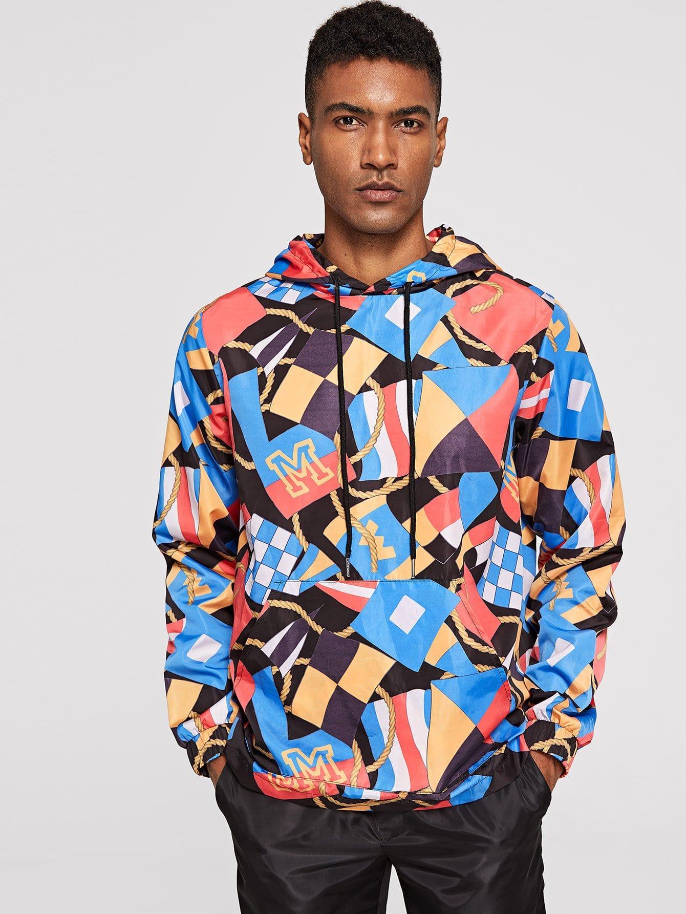 Купить Мужская куртка с капюшоном и модным принтом, Johnn Silva, SheIn
