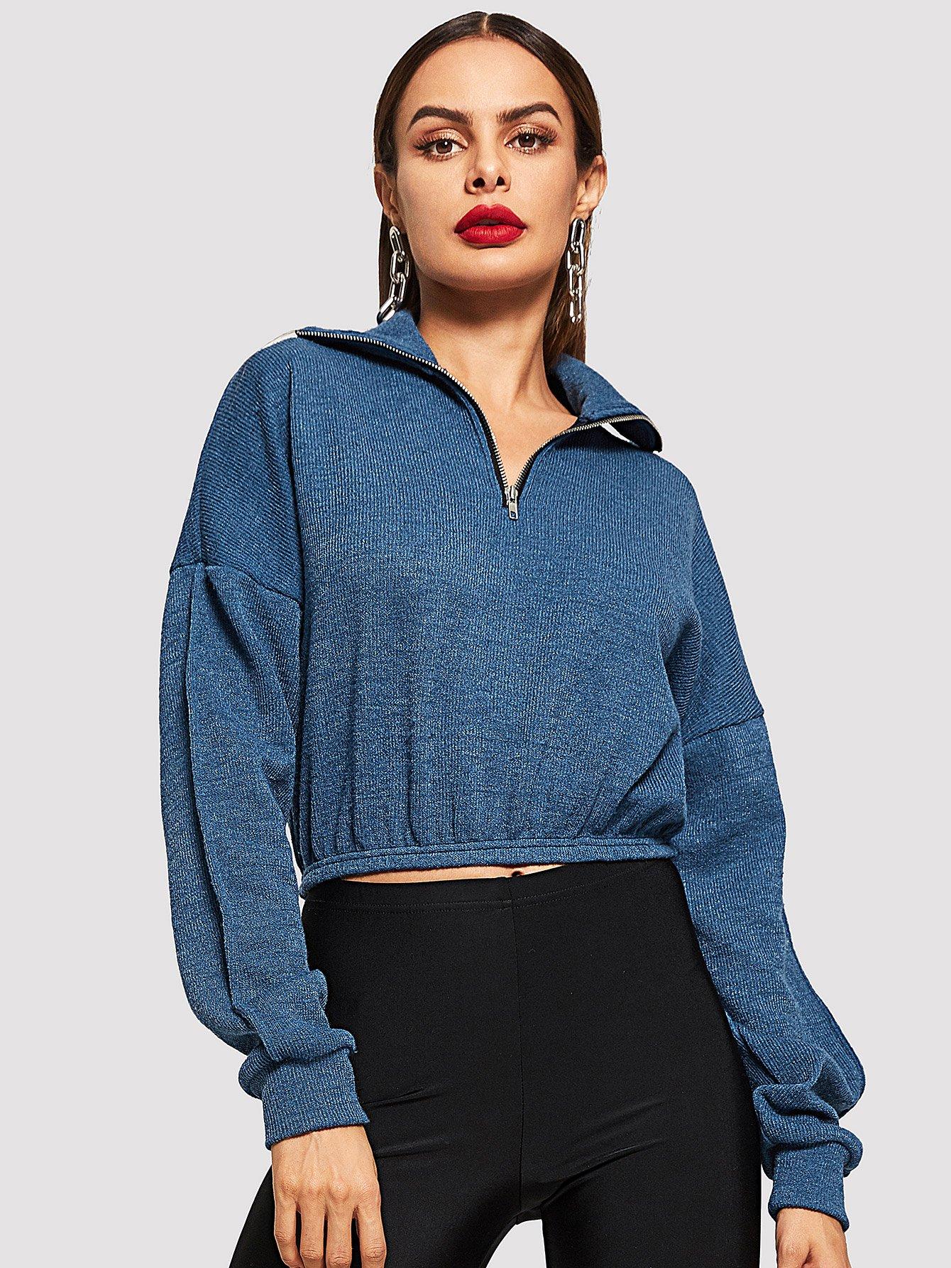 Купить Туника пуловер на молнии с ложным вырезом, Andy, SheIn