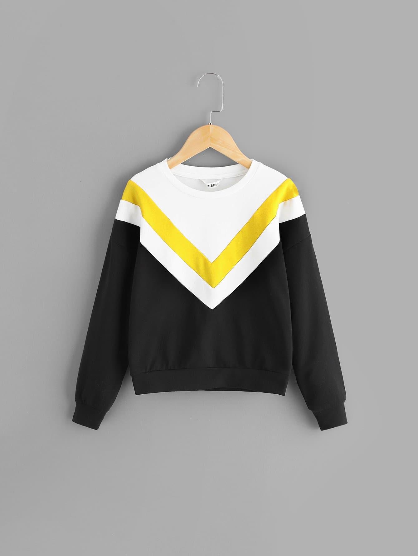 Для девочек контрастный туника пуловер от SheIn