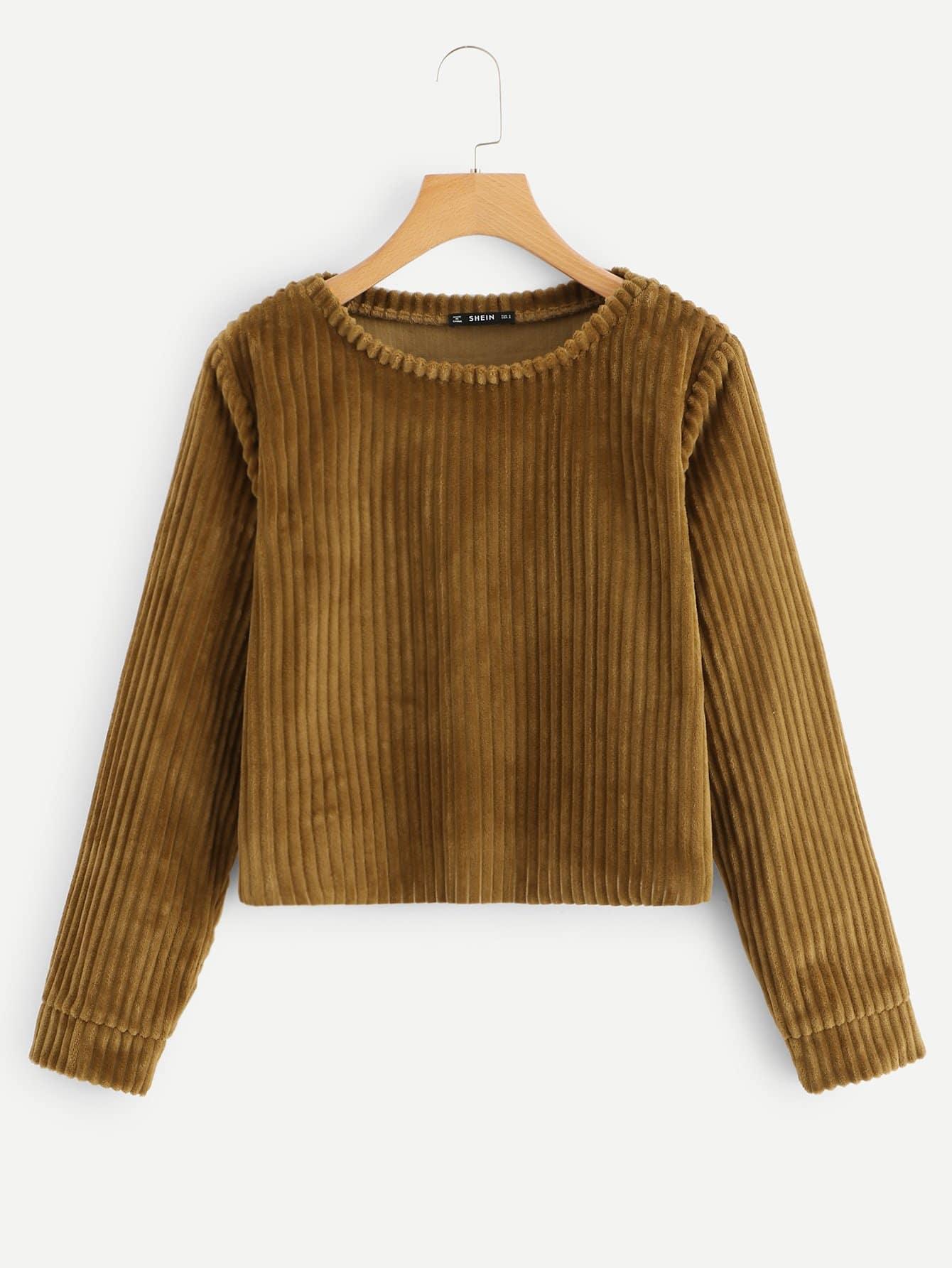 Фото - Твердый пуловер с круглым вырезом от SheIn коричневого цвета