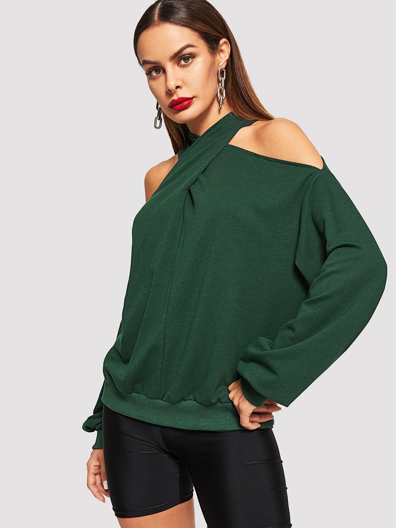 Фото - Крест накрест твердый холтер пуловер от SheIn зеленого цвета