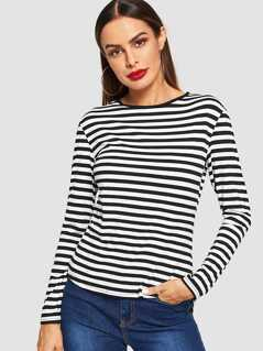 Curved Hem Striped Tee