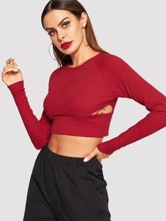 Raglan Sleeve Cut Out Crop Tee