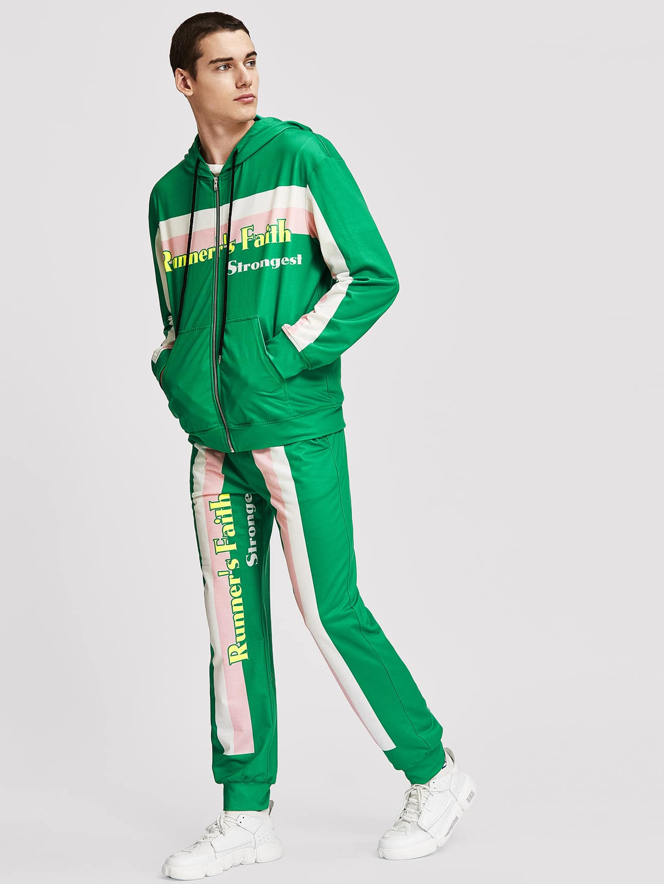 Для мужчин куртка с капюшоном и брюки комплект от SheIn