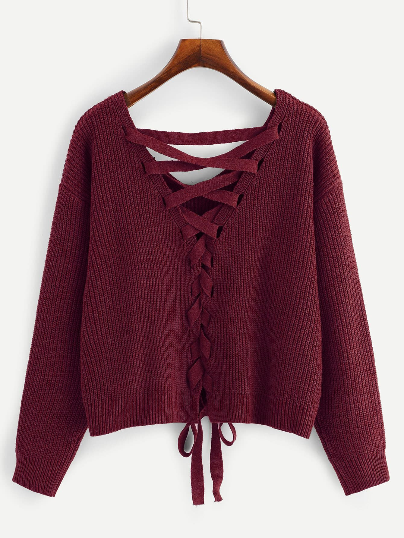 Купить Размера плюс свитер с шнурками и заниженной линией плеч, null, SheIn