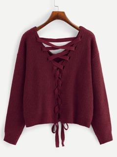 Lace-up Drop Shoulder Sweater