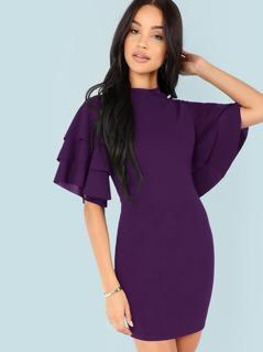 Tiered Flounce Sleeve Bodycon Dress