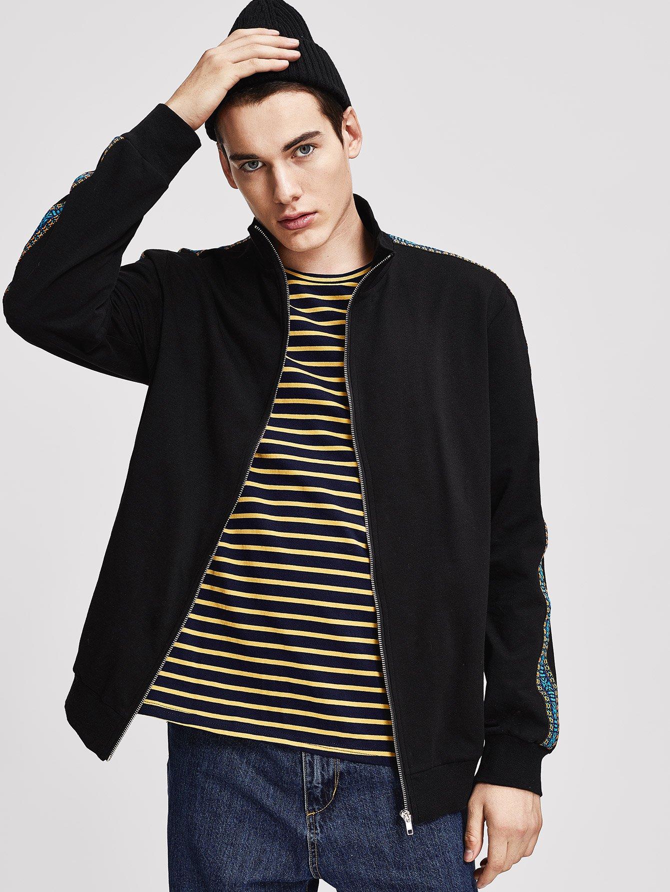 Купить Мужская куртка на молнии со стоячим вырезом, Misha, SheIn