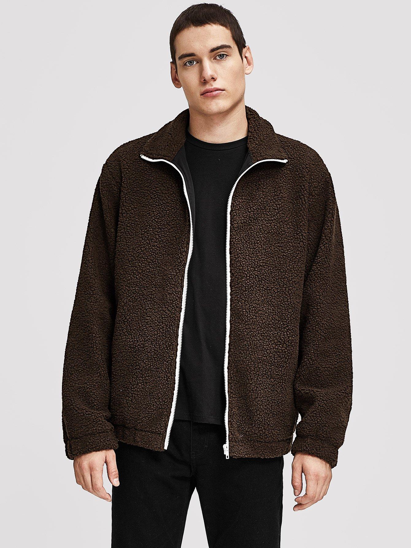 Купить Мужская пушистая куртка на молнии, Misha, SheIn