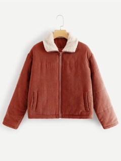 Zip Up Corduroy Puffer Jacket