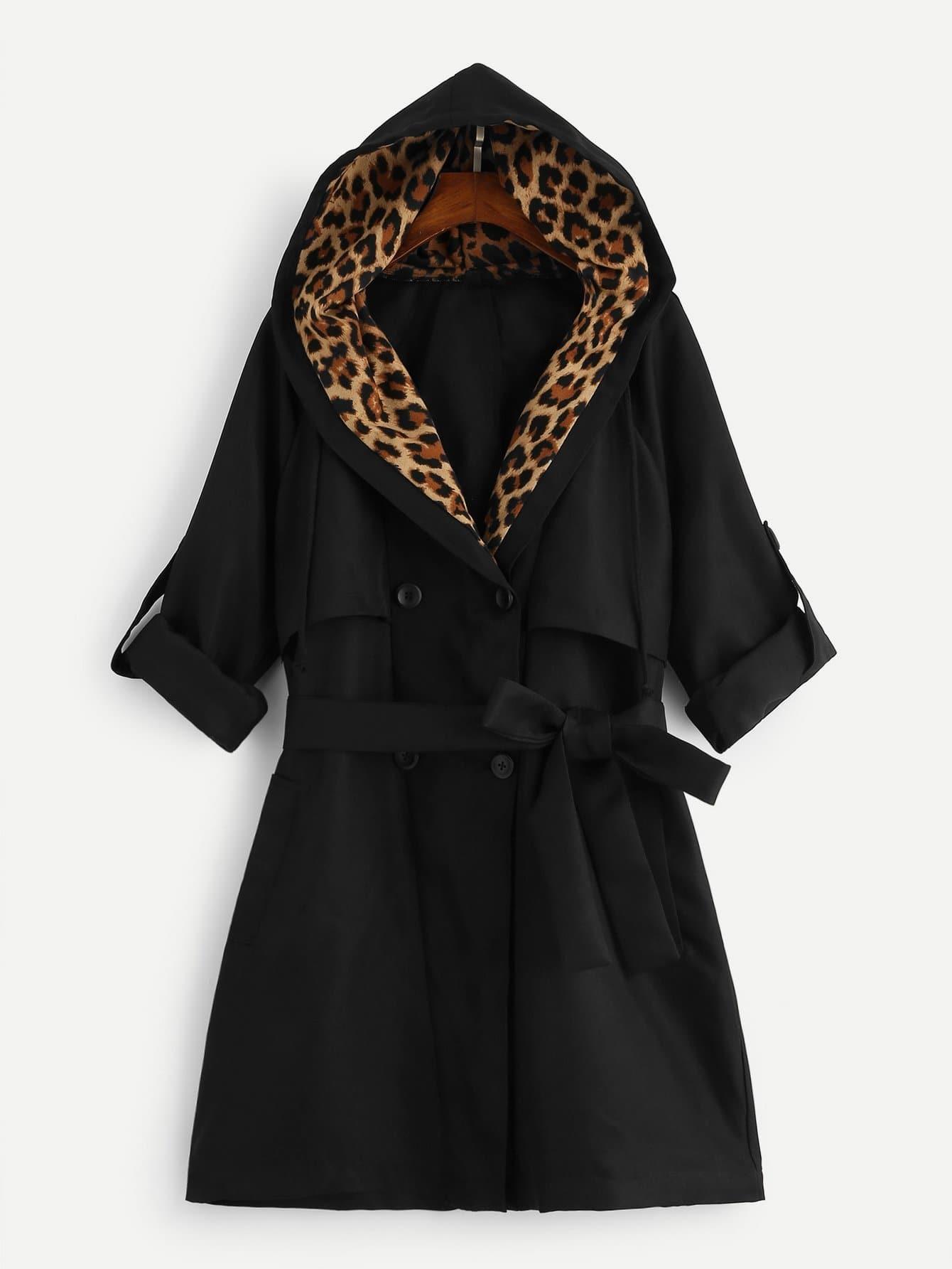 Двубортное леопардовое пальто с капюшоном с поясом SheIn