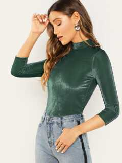 Mock Neck Fitted Ribbed Velvet Top