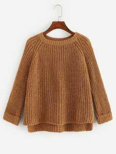 Cuffed Raglan Sleeve Dip Hem Sweater