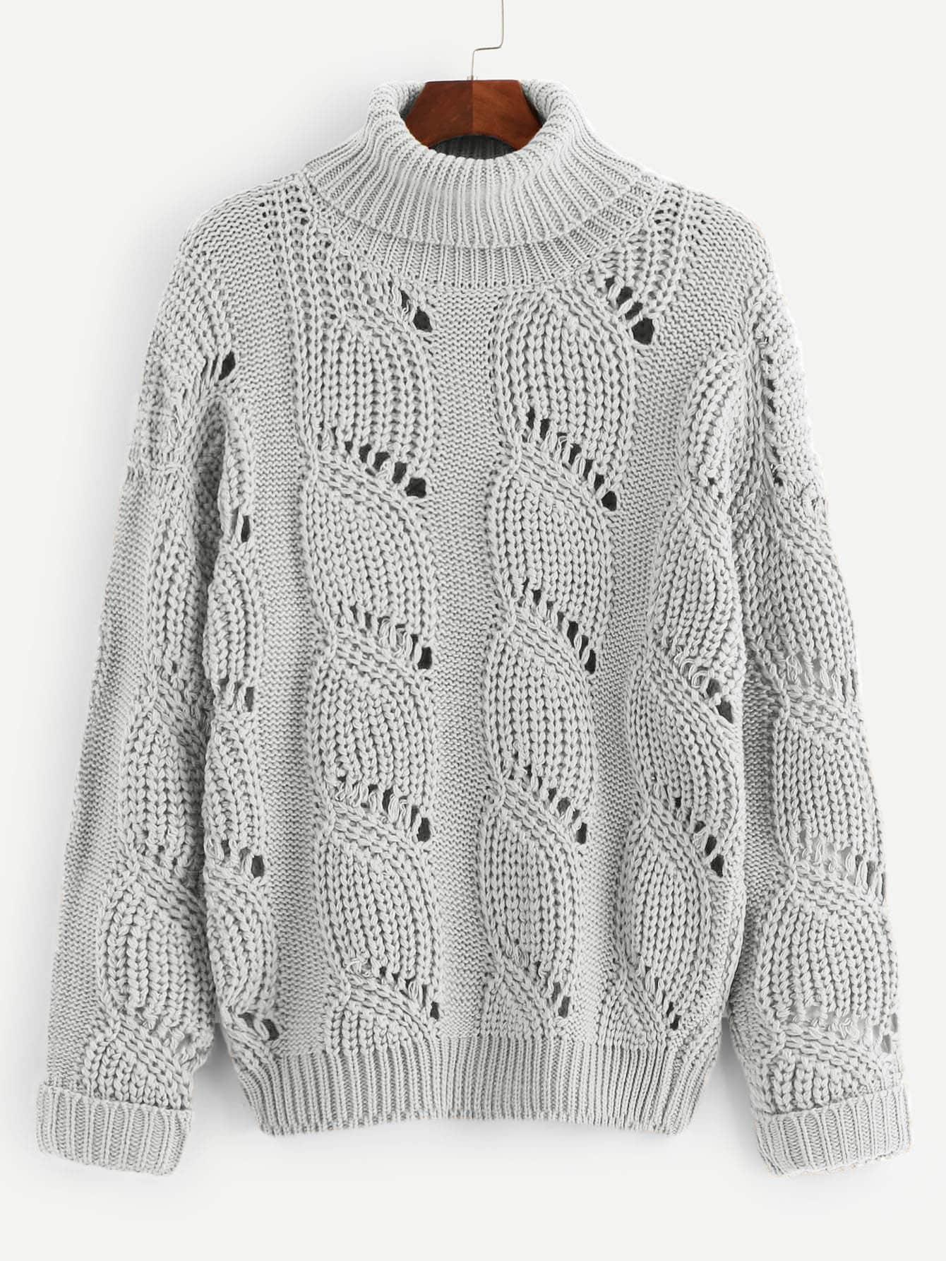 Купить Стильный свитер крупной вязки с манжетами, null, SheIn
