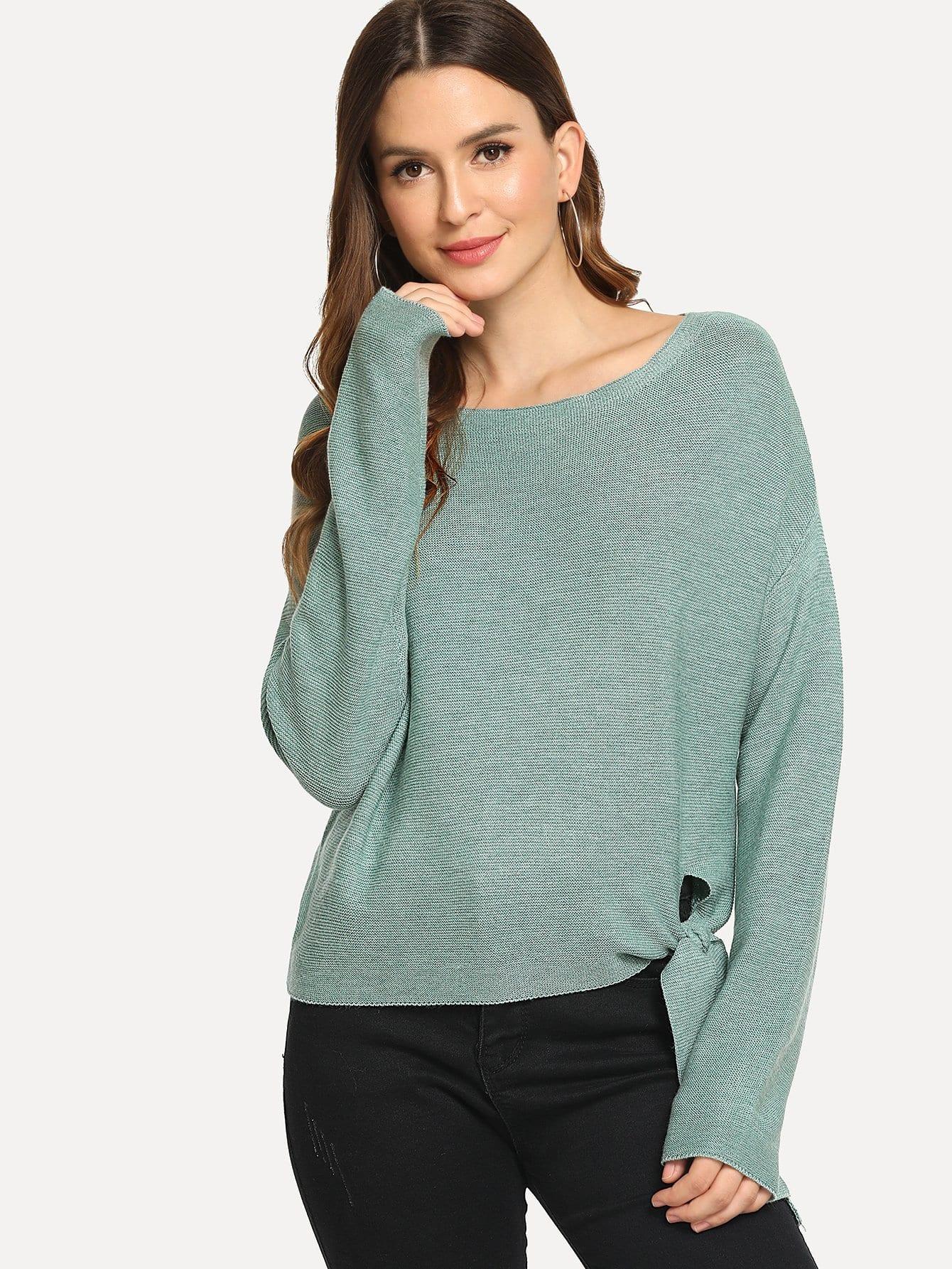 Купить Вязаный пуловер с узлом, Jana, SheIn