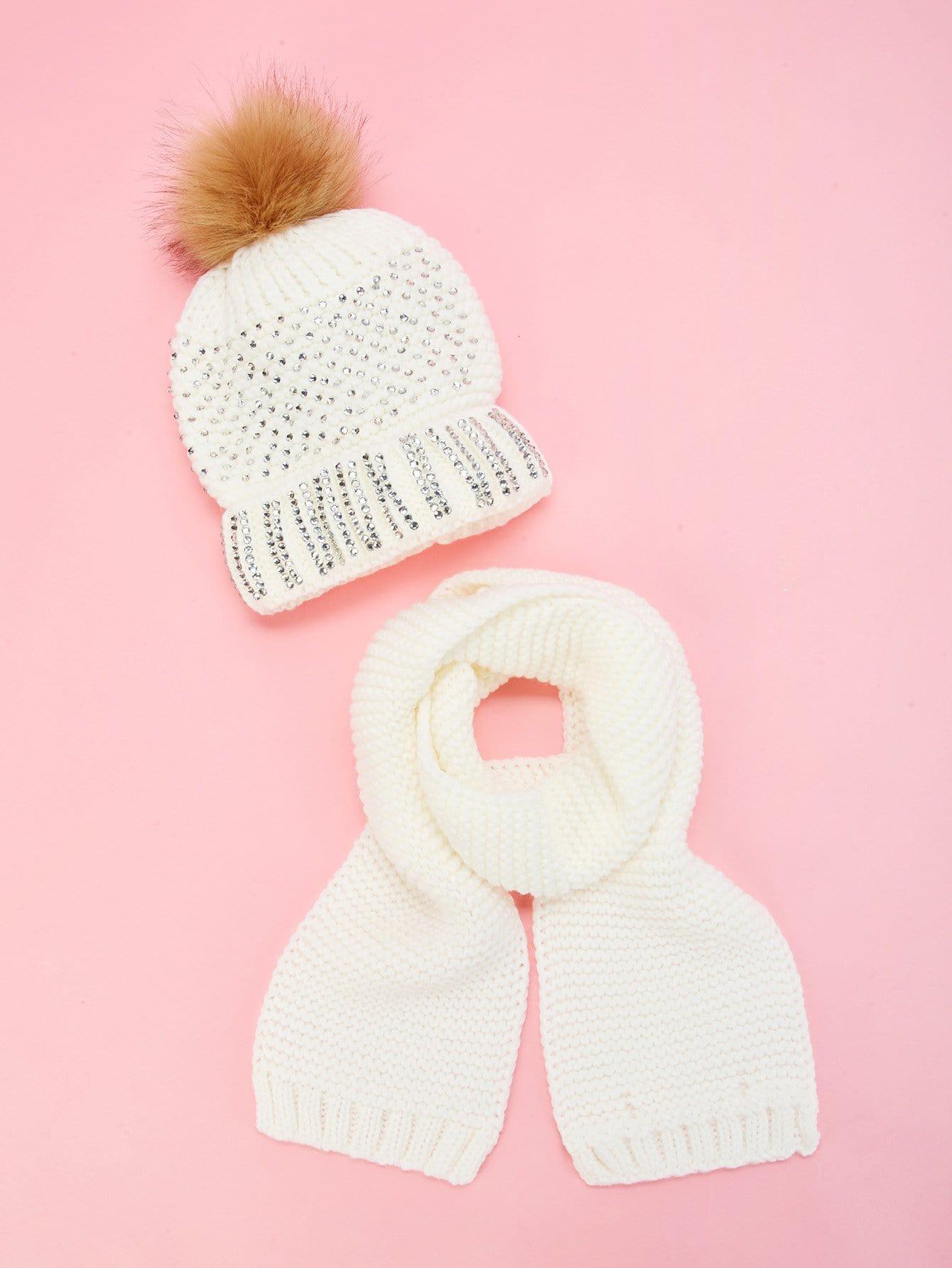 Купить Шляпка с горными хрусталями и однотонный шарф 2 шт для девочек, null, SheIn