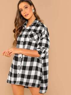 Pocket Patched Plaid Dress