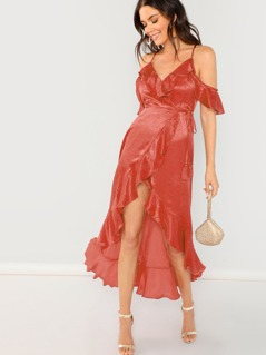 Cold Shoulder Surplice Wrap Ruffle Dress