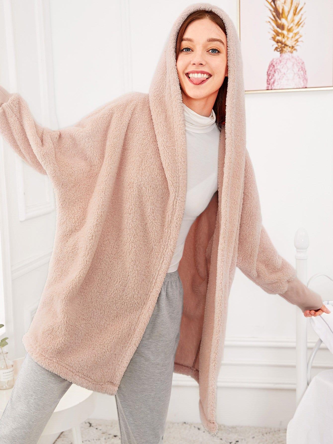 Купить Однотонный пушистый домашний халат с капюшоном, Poly, SheIn