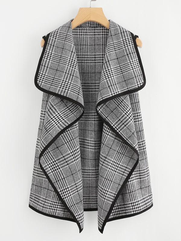 Размера плюс пальто в клетку с контрастной отделкой, null, SheIn  - купить со скидкой